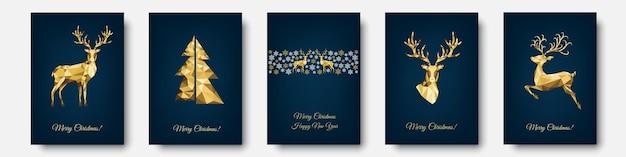 Cartão de natal. decoração dourada e branca. feliz ano novo fundo azul. árvore de natal de ouro, renas, flocos de neve. modelo de vetor para convite de festa.