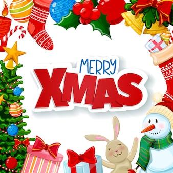 Cartão de natal, decorações de feliz natal.