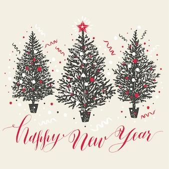 Cartão de natal desenhado à mão. ano novo árvores com neve e confetes