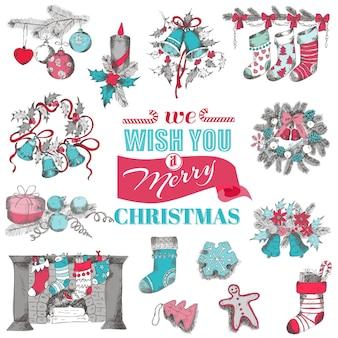 Cartão de natal desenhado à mão