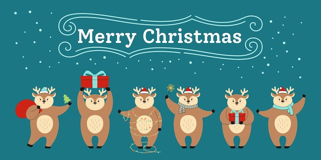 Cartão de natal, desenho animado de rena em diferentes poses com chapéu vermelho e caixa de presente