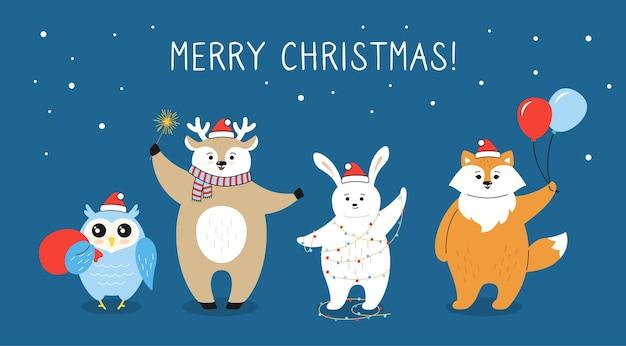 Cartão de natal, desenho animado raposa, cervo coruja coelho