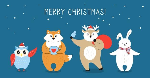 Cartão de natal, desenho animado raposa, cervo coruja e personagem de lebre com caixa de presente, bolsa de papai noel