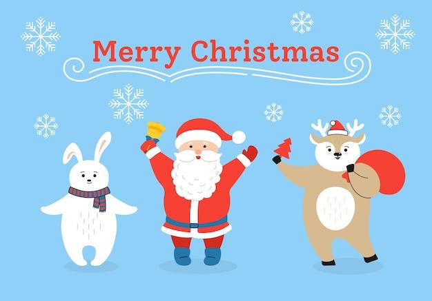 Cartão de natal, desenho de veado, papai noel e personagem de coelho com presente