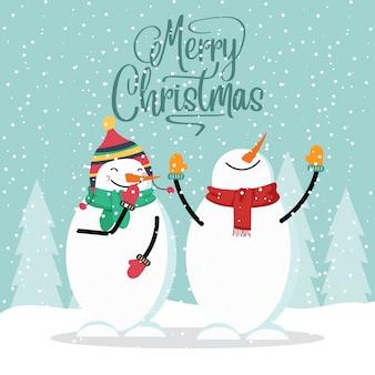 Cartão de natal design plano com boneco de neve engraçado