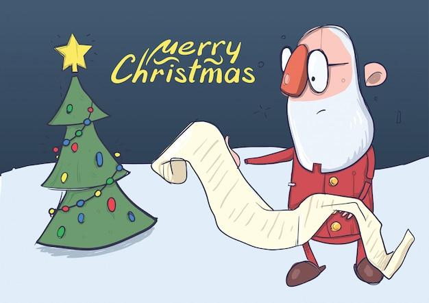 Cartão de natal do engraçado papai noel em copos lendo um longo pergaminho ao lado da árvore de natal. ilustração do personagem.