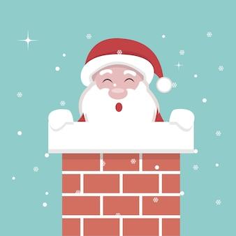 Cartão de natal do papai noel dentro da lareira