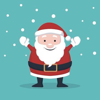 Cartão de natal do papai noel, levantando as mãos