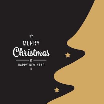 Cartão de natal dourado silhueta árvore negra
