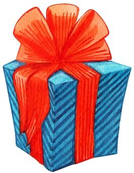 Cartão de natal e ano novo. coleção de presentes. aquarela. desenho em aquarela de presente