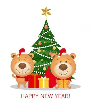 Cartão de natal e ano novo com árvore de natal e decorações