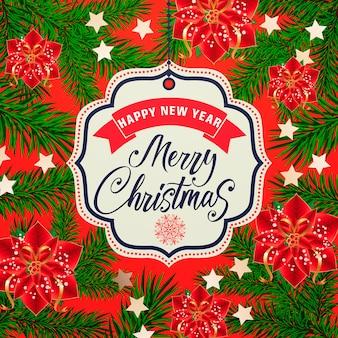 Cartão de natal e ano novo com flores