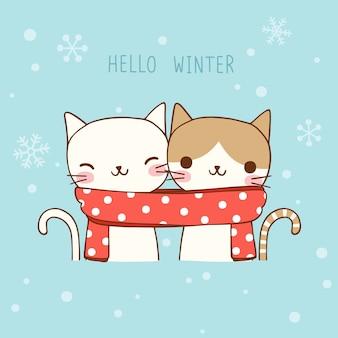 Cartão de natal e ano novo com gatos bonitos em estilo simples