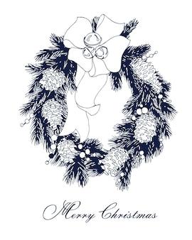Cartão de natal e ano novo com guirlanda de natal. molde do vetor.