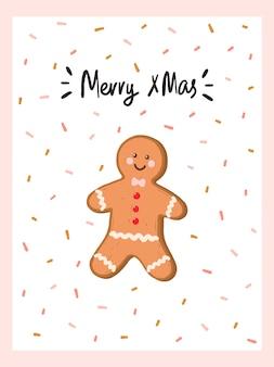 Cartão de natal e ano novo com homem-biscoito no estilo hygge. aconchegante temporada de inverno. escandinavo.