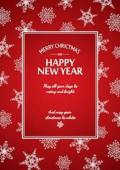 Cartão de natal e ano novo com inscrição caligráfica em moldura retangular e flocos de neve brancos no vermelho