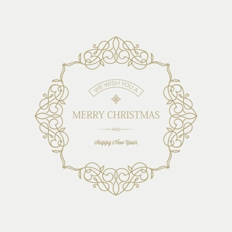 Cartão de natal e ano novo com inscrição de saudação em moldura elegante