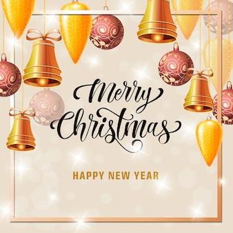 Cartão de natal e ano novo com moldura