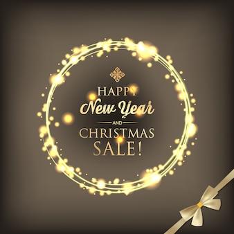 Cartão de natal e ano novo com texto de saudação de anel de luz brilhante e laço de fita