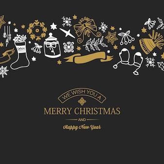Cartão de natal e ano novo com texto e elementos tradicionais desenhados à mão no escuro