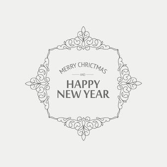 Cartão de natal e ano novo em estilo monocromático