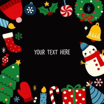 Cartão de natal e ano novo em estilo simples