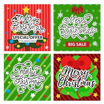 Cartão de natal e conjunto de banner de venda
