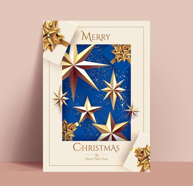 Cartão de natal elegante com decoração de natal dourada, como estrelas douradas e caixas de presente com laços dourados