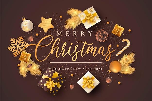 Cartão de natal elegante com ornamentos marrons e bege
