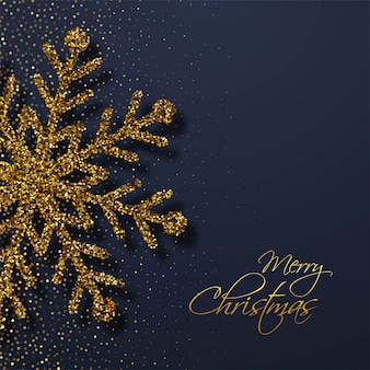 Cartão de natal elegante dos flocos de neve dos brilhos dourados
