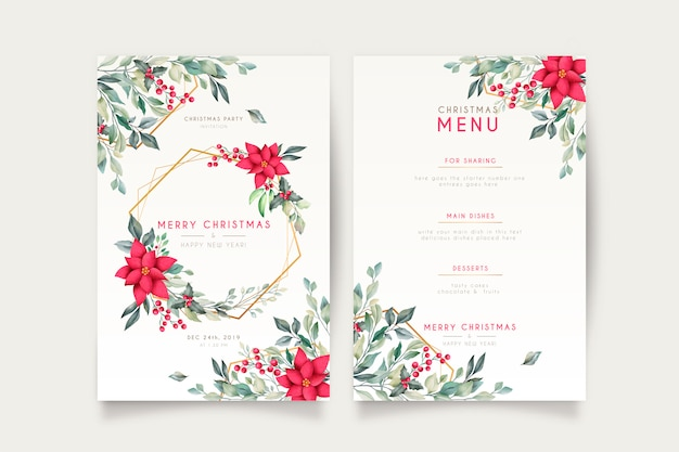 Cartão de natal elegante e modelo de menu