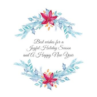 Cartão de natal em aquarela com decorações florais