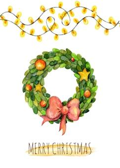 Cartão de natal em aquarela com guirlanda de luzes de estrelas e decorações de natal.