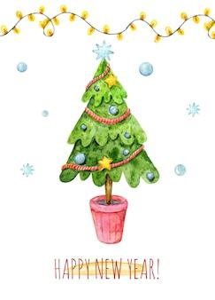 Cartão de natal em aquarela com luzes de guirlanda de árvore de natal estrelas floco de neve de natal