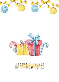 Cartão de natal em aquarela com luzes de guirlanda e decoração de natal caixa de presente de doces