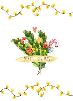Cartão de natal em aquarela com luzes de guirlanda, estrelas, decorações de natal, ramos de abeto