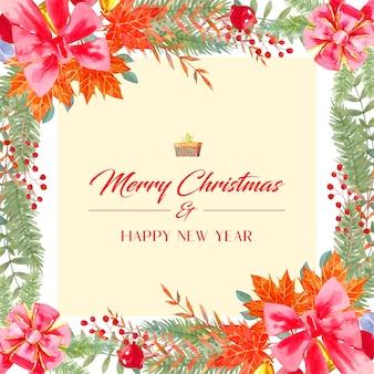 Cartão de natal em aquarela, enfeites são um grande laço vermelho, sinos de natal dourados, bolas de natal vermelhas e cromadas e folhas ao redor.