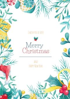 Cartão de natal em aquarela