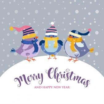 Cartão de natal engraçado com pássaros