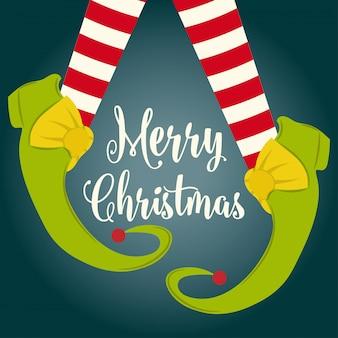 Cartão de natal engraçado com pernas de elfo