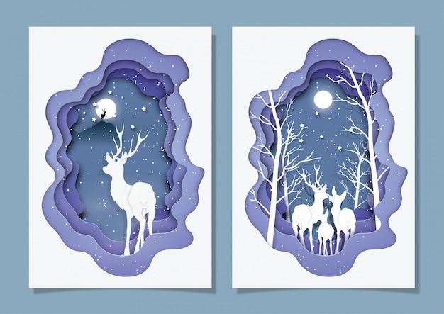 Cartão de natal, estilo de corte de papel.
