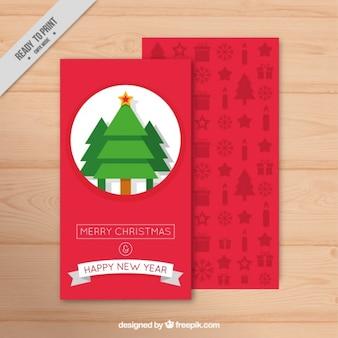 Cartão de natal fantástico com árvores geométricas