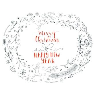 Cartão de natal feito em vetor. elementos artesanais de natal com texto para cartões e convites perfeitos. design moderno de ano novo.
