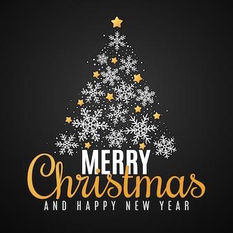 Cartão de natal feliz ano novo. árvore de natal de flocos de neve e estrelas douradas. letras bonitas