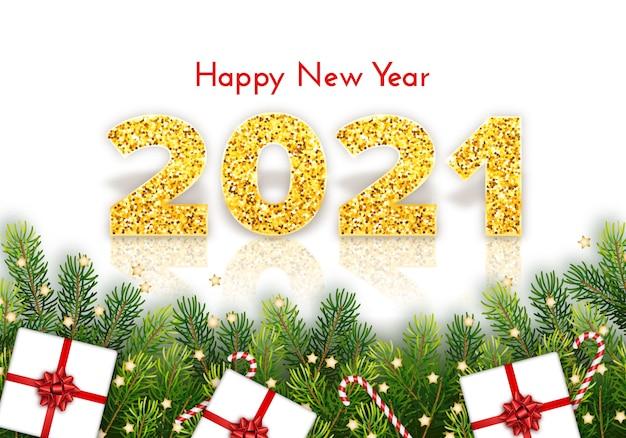 Cartão de natal feliz ano novo com galhos de pinheiros, bengalas doces, presentes e laços