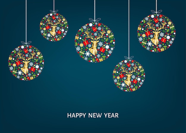 Cartão de natal. feliz ano novo fundo azul. bola de natal com renas de ouro, presentes e flocos de neve. decoração de árvore vermelha, verde e branca. padrão colorido. molde do vetor.