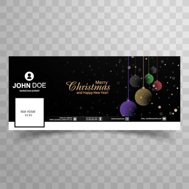 Cartão de natal feliz com design de modelo de banner de capa de facebook