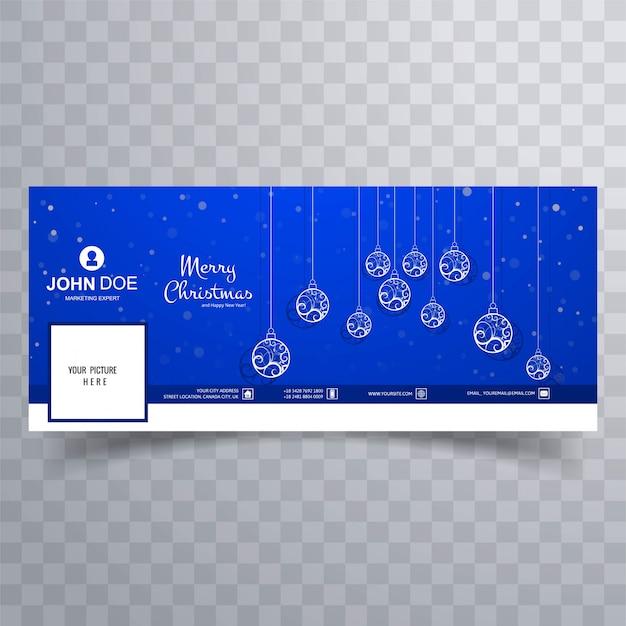 Cartão de natal feliz com o modelo de banner de capa do facebook