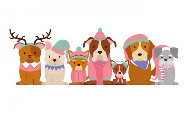 Cartão de natal feliz do cão