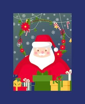Cartão de natal feliz natal com árvore de papai noel e presentes de ano novo ilustração de fundo de cartão postal de santas inverno férias celebração cartaz design pano de fundo